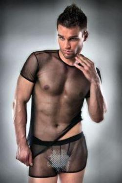 Passion Black Sheer Mens T-shirt and Boxer Short Set - The Pantie Purse