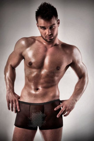 Passion Mens Sheer Black See Through Boxer Shorts - The Pantie Purse