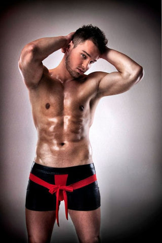 Passion Black Mens Wet Look Boxer Shorts with Red Bow - The Pantie Purse