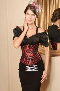Red and Black Floral Underbust Corset Waist cincher.