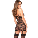 Rene Rofe Black Floral Lace Chemise, Garter and G-String Set - The Pantie Purse