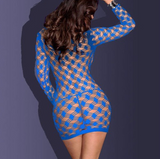 Royal Blue Fishnet Mini Dress
