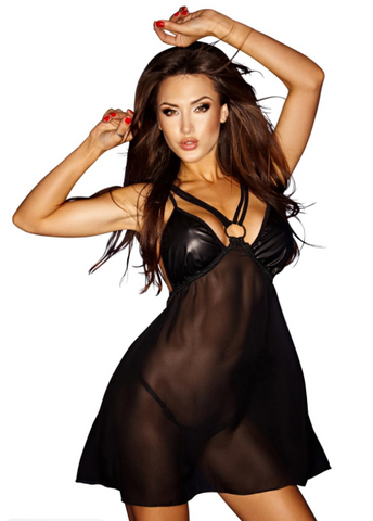 Noir Handmade Black Wet Look and Sheer Babydoll - The Pantie Purse