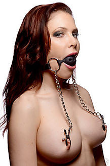 Ball Gag With Adjustable Nipple Clamps - The Pantie Purse