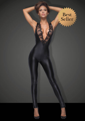 Noir Handmade Power Wetlook Catsuit with Lace