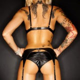 Demoniq Amanda Black Wetlook Sexy Lingerie Set - The Pantie Purse