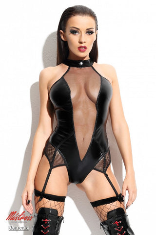 Demoniq Agnes Wet Look & Mesh Body With Suspenders and Stockings - The Pantie Purse