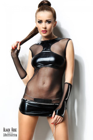 Demoniq Anette Black Wetlook and See Through Dress - The Pantie Purse