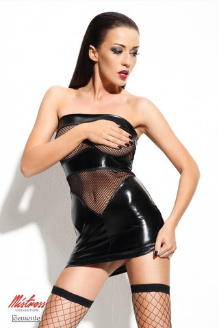 Demoniq Dagmar Black Wet Look & Fishnet Boobtube Spanking Dress - The Pantie Purse