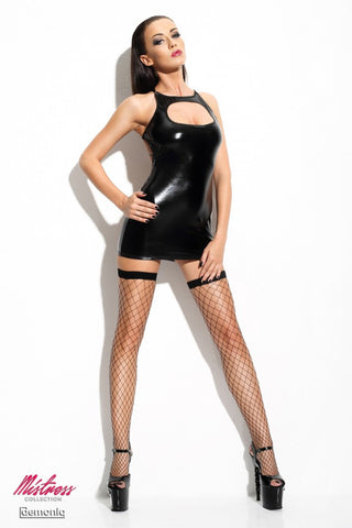 Demoniq Ursel Wet Look Spanking Mini Dress - The Pantie Purse