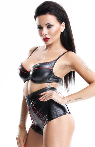 Demoniq Black and red Wet Look Bra and High Waisted Briefs.