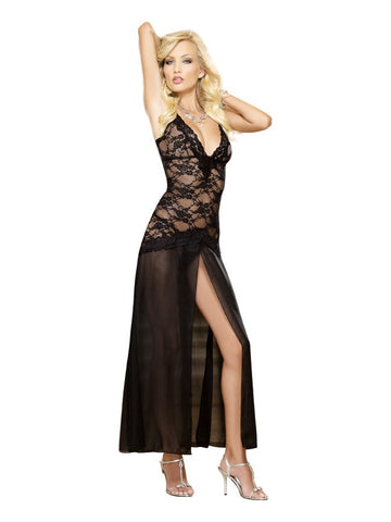 Black Lace And Chiffon Dreamgirl Long Gown - The Pantie Purse