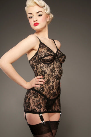 Excite – Black Lace Corselette Chemise - The Pantie Purse