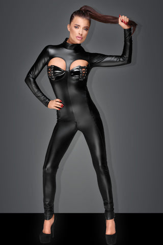 Noir Handmade Wetlook Cutout Catsuit - The Pantie Purse