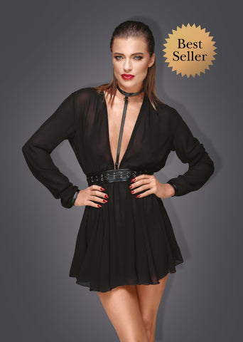 Noir Handmade Black Plunge Chiffon Choker Dress
