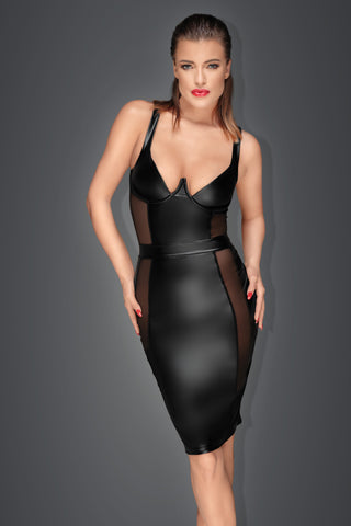 Noir Handmade Wetlook Panel Pencil Dress - The Pantie Purse