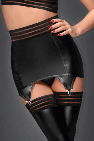 Noir Handmade Wetlook Striped Garter Belt - The Pantie Purse