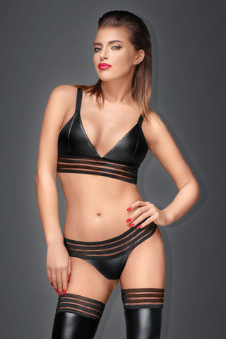 Noir Handmade Wetlook Striped Bra Top - The Pantie Purse