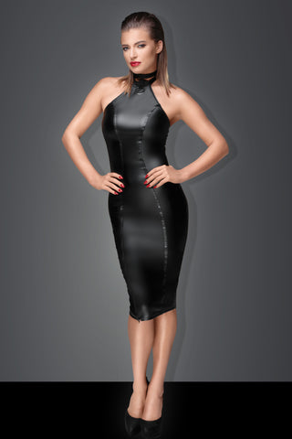Noir Handmade Black Powerwetlook High Neck Pencil Dress