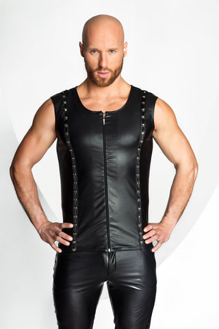 Noir Handmade Mens Black Wetlook Zip Up Vest.