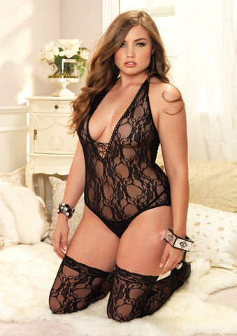Plunge Lace Bodysuit and Stockings - The Pantie Purse