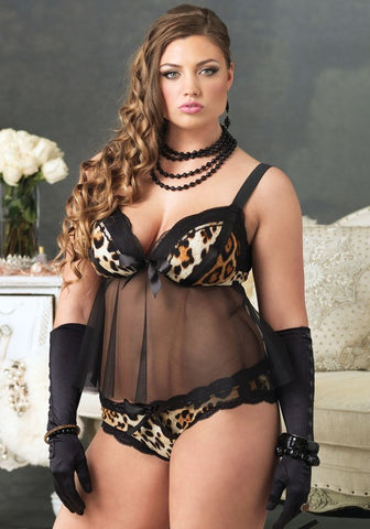 Plus Size Leopard Print Babydoll Set - The Pantie Purse