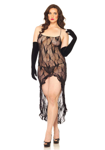 Leg Avenue Plus Size Lingerie Butterfly Lace Long Dress with G String - The Pantie Purse