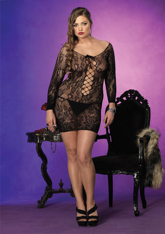 Leg Avenue Lace Up Long Sleeved Plus Size Lace Dress Chemise - The Pantie Purse