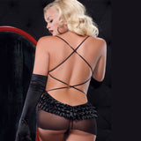 Leg Avenue 2 Piece Sensual Sheer Black Babydoll Set with Frill - The Pantie Purse