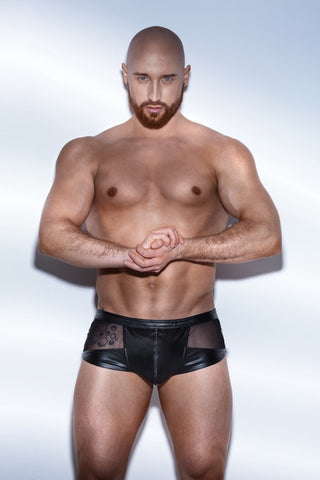 Noir Handmade Men Black Wetlook Shorts with Tulle - The Pantie Purse