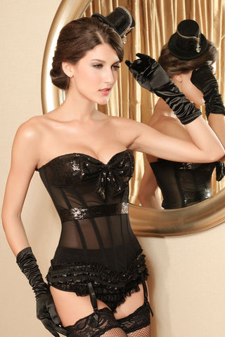 Powernet Black Bustier with padded sequin cups - The Pantie Purse