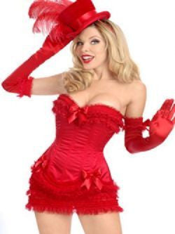 Red Burlesque 3 Piece Corset and Mini Skirt Set - The Pantie Purse