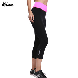 BINAND Women Elastic Yoga Sports Pants Running  Exercise Tight Fitness Gym Quick Dry Training Pants  Workout  Breathable Capris - ms-leggings
