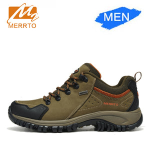 Merrto Men Waterproof Hiking Shoes Outdoor Sports Shoes Genuine Leather Sneakers Breathable Walking Mountain Trekking Shoes Men - ms-leggings