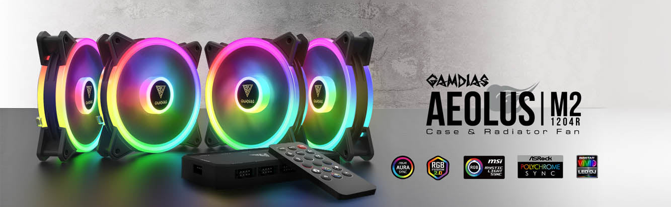 GAMDIAS Aeolus M2-1204R 120 MM ARGB CASE & Radiator Fan
