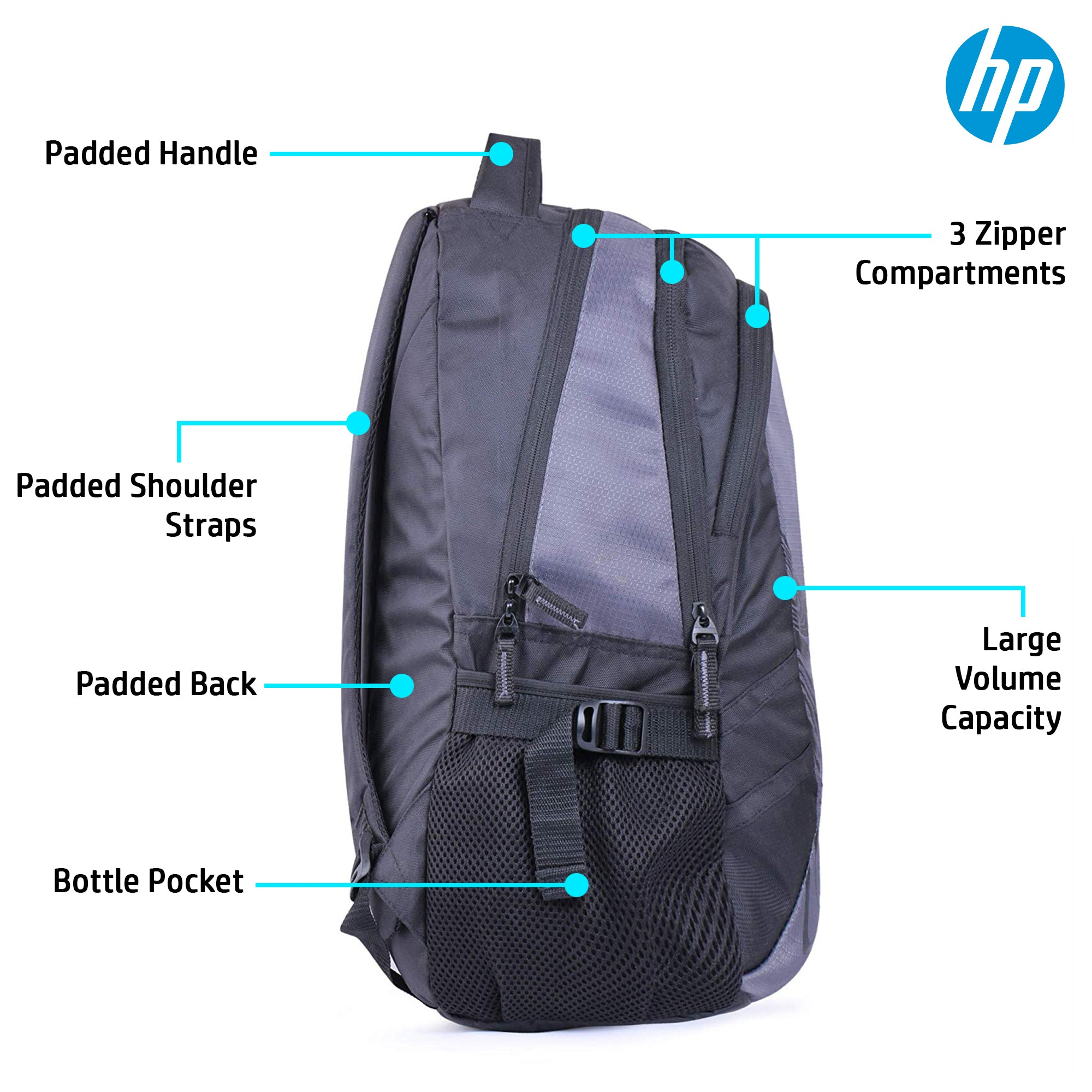 HP 15.6 Inch Crystal Backpack with Raincoat (Gray, 4ZG29PA)