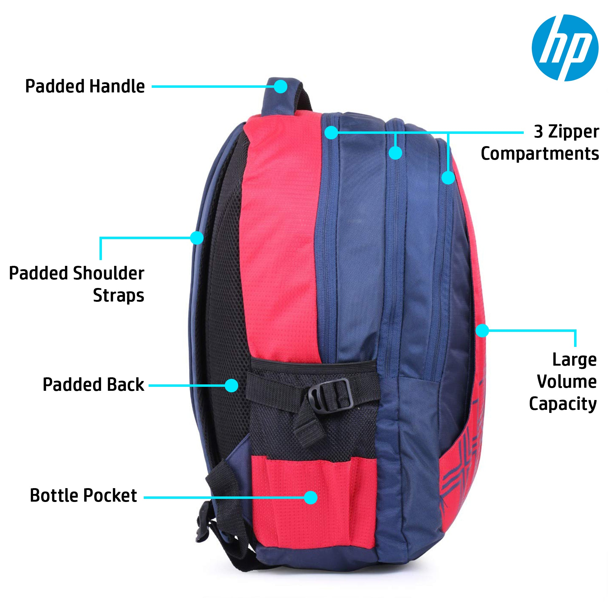 HP 15.6 Inch Diamond Laptop Backpack (Red, 4ZG32PA)