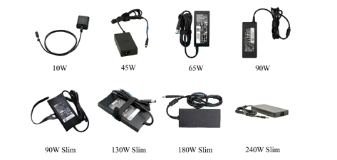 Different laptop charger types from Dell, HP, Acer, Asus, Panasonic, Lapgrade, Lapcare