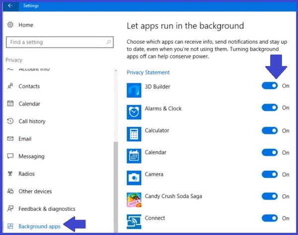 Windows 10 background apps Applications settings - TPS Tech Blog on Laptop Battery Health Tips