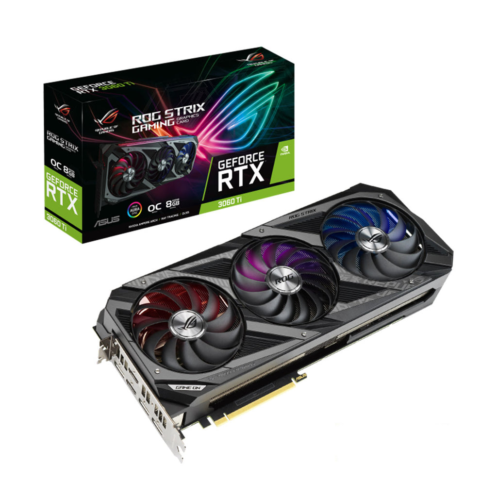 ASUS ROG STRIX NVIDIA GeForce RTX 3060 Ti OC Edition Graphics Card GDDR6 8GB 256-Bit with DLSS AI Rendering