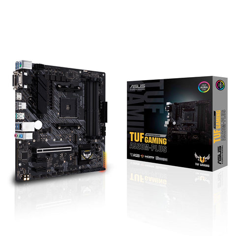 ASUS TUF Gaming A520M-Plus AMD AM4 Micro-ATX Motherboard with DDR4 4800MHz and USB 3.2 Gen 2