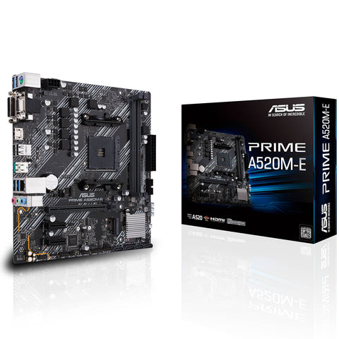 ASUS Prime A520M-E AMD AM4 Micro-ATX Motherboard with DDR4 4600MHz M.2 and USB 3.2 Gen 2