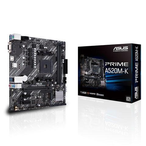 ASUS Prime A520M-K AMD AM4 Micro-ATX Motherboard with DDR4 4600MHz M.2 and USB 3.2 Gen 1