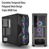 Cooler Master MasterBox TD500 Mesh Triple ARGB Full Tower Gaming Cabinet with Dual 360mm Radiator Support and Crystalline Tempered Glass