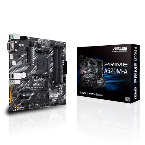 ASUS Prime A520M-A AMD AM4 Micro-ATX Motherboard with DDR4 4800MHz M.2 and USB 3.2 Gen 1