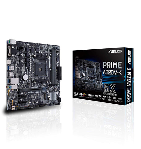 ASUS PRIME A320M-K AMD AM4 Micro-ATX Motherboard with DDR4 3200MHz and M.2