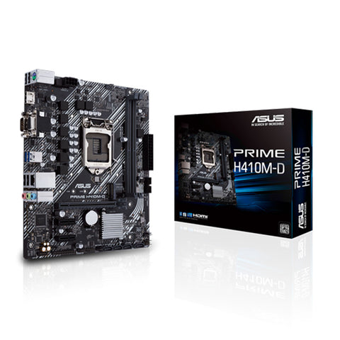 ASUS Prime H410M-D LGA 1200 Micro-ATX Motherboard with M.2 UEFI BIOS and USB 3.2