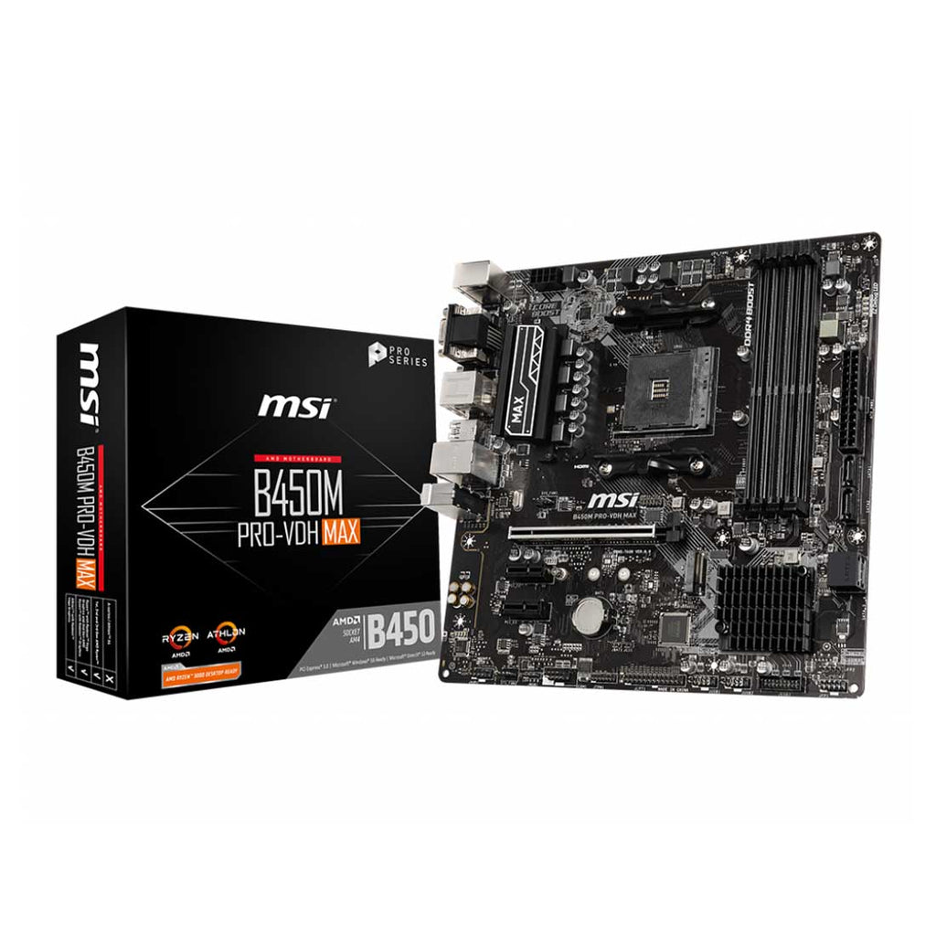 MSI B450M PRO-VDH MAX AM4 Socket Dual Channel DDR4  Micro-ATX Gaming Motherboard