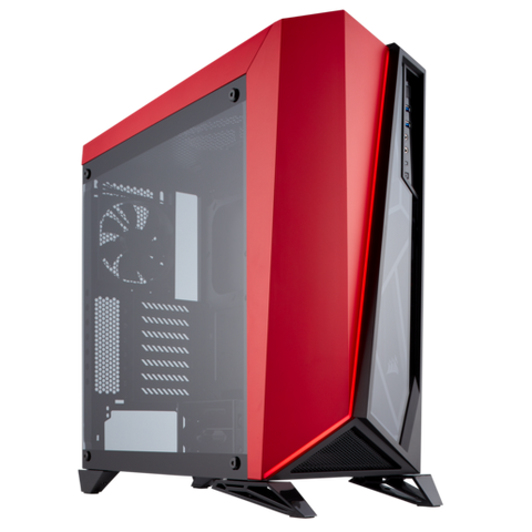 Corsair Carbide Series SPEC-OMEGA Tempered Glass Mid-Tower ATX Gaming Case - Black/Red - The Peripheral Store | TPS