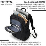 Dicota Eco Scale 15.6 inch Laptop Backpack with Lockable Notebook Compartment Trolley Fastening Strap & Ergonomic Back Padding